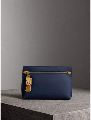 Burberry Two-tone Trench Leather Wristlet Pouch