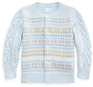 Ralph Lauren Childrenswear Fair Isle Cable-Knit Cotton/Wool Sweater, Size 6-24 Months