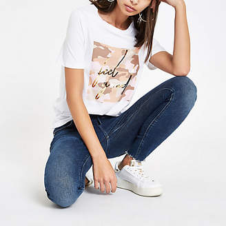 River Island White 'feel good' foil camo print T-shirt