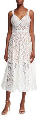 Jovani Sleeveless A-Line Lace Midi Dress