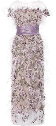Marchesa Illusion Off Shoulder Ostrich Feather Embroidered Gown