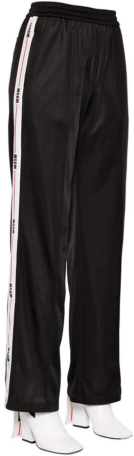 Flared Logo Bands Techno Jersey Pants