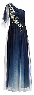 Marchesa Women's One-Shoulder Floral Embroiderred A-Line Gown