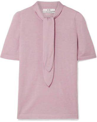 Co Pussy-bow Cashmere Top - Lilac