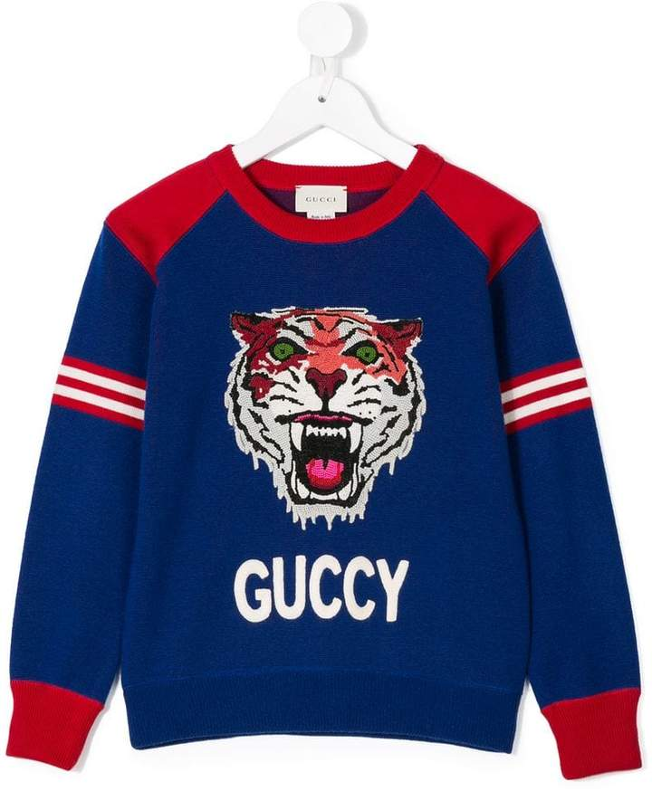 Gucci Kids embroidered tiger sweater