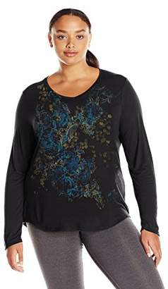 Just My Size Women's Plus Size Long Sleeve Graphic V-Neck Tee