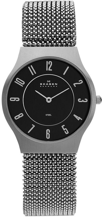 Skagen Denmark Watch, Men's Stainless Steel Stretch Mesh Bracelet 34mm 233LSM2