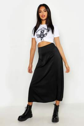 boohoo Satin Bias Cut Slip Midi Skirt
