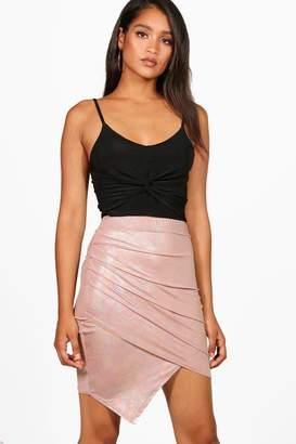 boohoo Metallic Rouched Wrap Midi Skirt