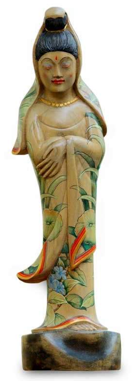 Beautiful Kwan Im Wood statuette