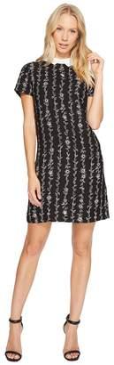 CeCe Short Sleeve Satin Crepe Floral Vine Collar Dress Women's Dress