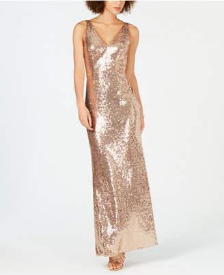 Night Way Nightway Petite V-Neck Sequined Gown