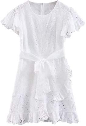 Goodnight Macaroon 'Tiu' Wrap Belted Lace Mini Dress