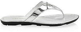 Prada Women's Logo Metallic Leather Thong Sandals