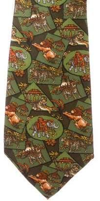 Salvatore Ferragamo Jungle Animal Print Silk Tie