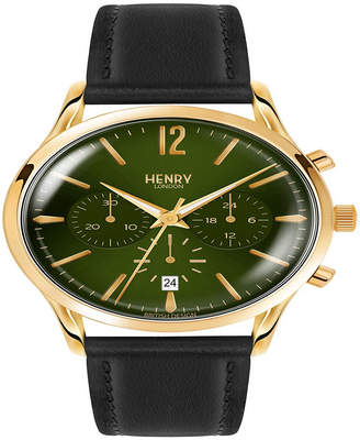 Gents Henry London Chiswick 41mm Black Leather Strap Watch with Gold Stainless Steel Casing