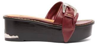 Toga Leather Flatform Mule Sandals - Womens - Burgundy