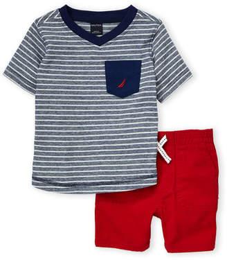 Nautica Infant Boys) Two-Piece Striped Tee & Short Set