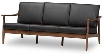 Baxton Studio Venza Mid-Century Modern Walnut Wood Black Faux Leather 3-Seater Sofa