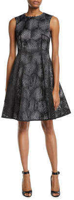 Paskal Laser-Cut Sleeveless Fit-&-Flare Cocktail Dress