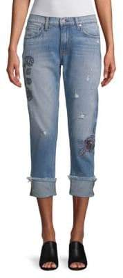 Embroidered Folded-Cuff Jeans