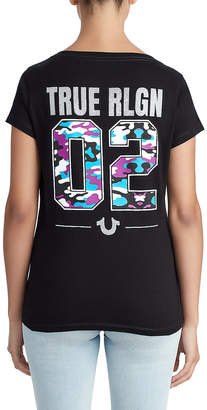 True Religion WOMENS CRYSTAL EMBELLISHED CAMO GRAPHIC TEE