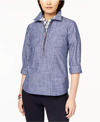 Tommy Hilfiger Cotton Chambray Half-Zip Top
