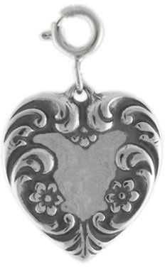 Sterling Victorian-Style Heart Charm