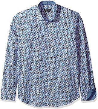 Bugatchi Men's Trim Fit Print Fabric Point Collar Woven Shirt