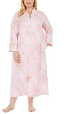 Miss Elaine Plus Size Floral-Print Quilted Long Zipper Robe