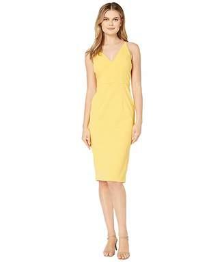 Donna Morgan Deep V-Neck Crepe Sheath Dress