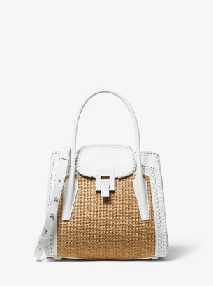 Michael Kors Bancroft Medium Whipstitch Calf Leather and Straw Satchel