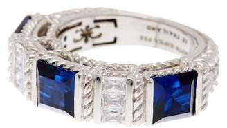 Judith Ripka Sterling Silver Blue & White CZ Ring