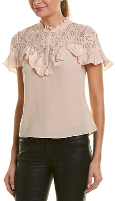 Rebecca Taylor Lace-Yoke Silk Top