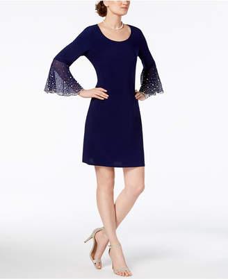 MSK Faux-Pearl Bell-Sleeve Dress