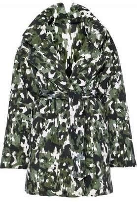 Norma Kamali Belted Printed Neoprene Coat