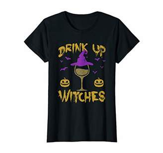 Womens Drink Up Witches Happy Halloween Wine Drinking Women T-Shirt