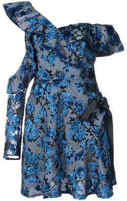 Self-Portrait floral print one shoulder dress