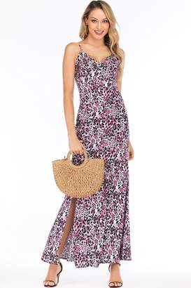 7d60475360e927 D. Anna Pink & Purple Leopard-Print Satin Sweetheart Maxi Dress
