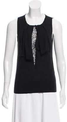 Valentino Sleeveless Embellished Wool Top