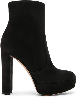Gianvito Rossi Suede Brook Platform Ankle Boots in Black | FWRD