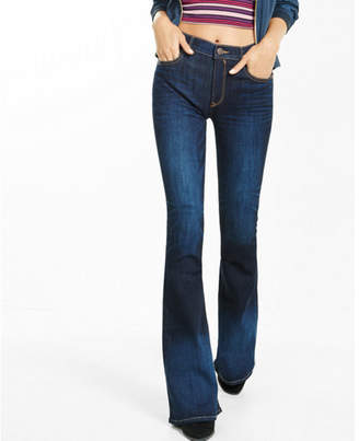 Express high waisted dark wash bell flare jeans $79.90 thestylecure.com