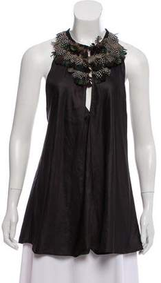 Elizabeth and James Feather-Trimmed Sleeveless Top