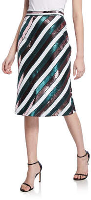 Diane von Furstenberg Sheen Sequin Stripe Knee-Length Skirt