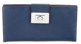 Michael Kors Leather Flap Clutch - BLUE - STYLE