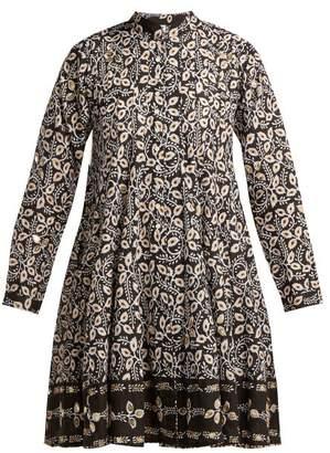 Juliet Dunn Leaf Print Cotton Jacket - Womens - Black Multi