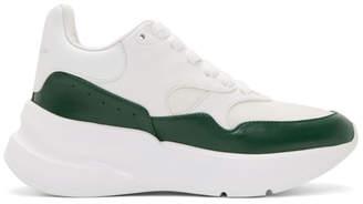 Alexander McQueen White and Green Platform Sneakers