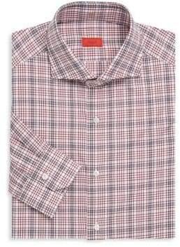 Isaia Contemporay Fit Plaid Dress Shirt