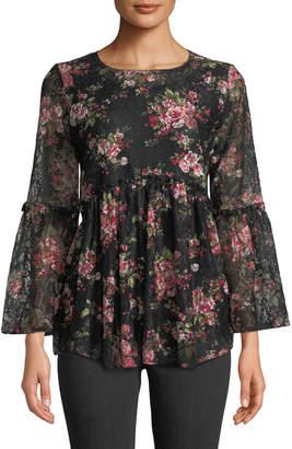 Neiman Marcus Floral-Print Lace Peasant Blouse