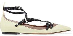 Valentino Eyelet-Embellished Matte And Patent-Leather Point-Toe Flats